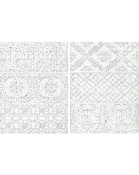 Koupelnový obklad retro lesklý Deco Maiolica White 11x25cm cm výrobce Roca mix 1/m2