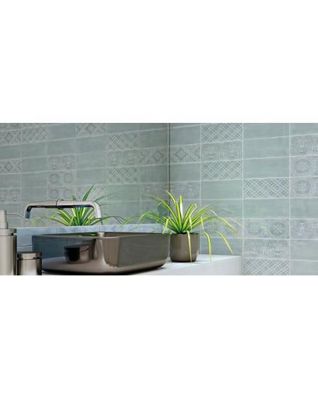 Koupelnový obklad retro lesklý Deco Maiolica Aqua 11x25cm cm výrobce Roca 1/m2 mix