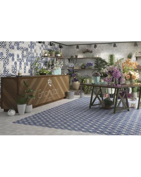 Dlažba obklad se vzorem Art retro patchwork Antoinette Fleur 15x15cm modrobílá výrobce Carmen