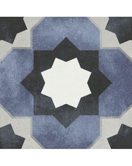 Dlažba obklad se vzorem Art retro patchwork Janette Fleur 15x15cm modrobílá výrobce Carmen