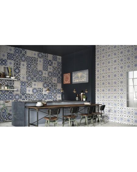 Dlažba obklad se vzorem Art retro patchwork Lou Lou Fleur 15x15cm modrobílá výrobce Carmen