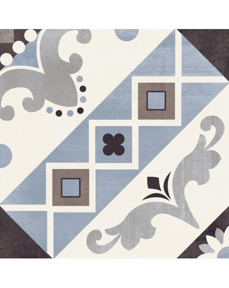 Dlažba obklad art Belleville Blu Paris 20x20cm vzorem modrobílá matná retro patchwork výrobce Del Conca Italy