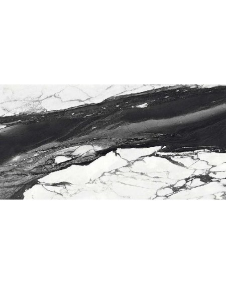Dlažba obklad Calacatta Renoir 120x240cm C. Černobílá ceramica Emil velkoformátová Rtt. Lesklá tl.6,5mm ultra slim