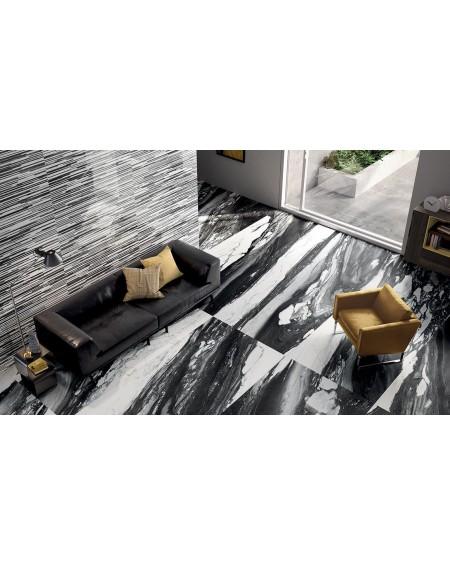 Dlažba obklad Calacatta Renoir 120x240cm C. Černobílá ceramica Emil velkoformátová Rtt. Naturale tl.6,5mm ultra slim