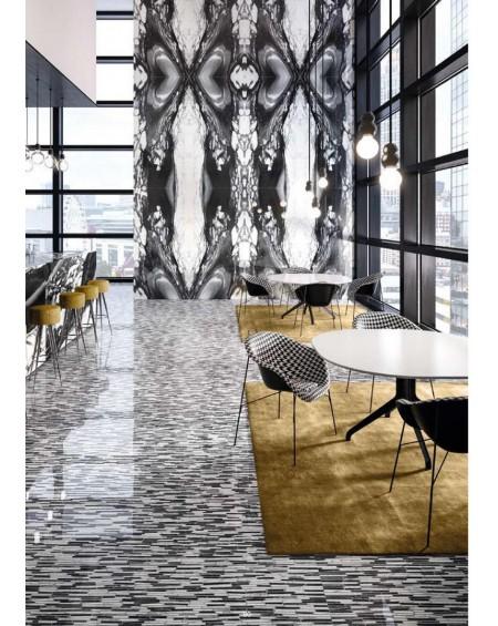 Dlažba obklad Calacatta Renoir 120x240cm BDL. Černobílá ceramica Emil velkoformátová Rtt. Lesklá tl.6,5mm ultra slim