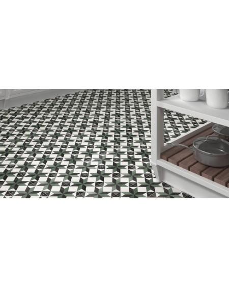 Dlažba obklad se vzorem Art retro patchwork Floriane Celin 15x15cm zelenočernobílá výrobce Carmen