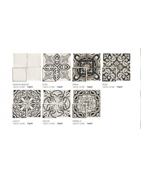 Dlažba obklad vintage Savona MIX černobílá provence patina 15x15cm výrobce Carmen matná