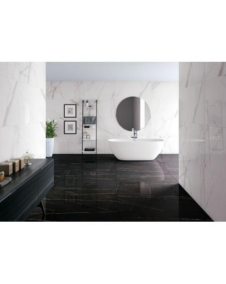dlažba obklad imitující hnědo černý mramor Tantalo negro pulido 60x120cm vysoký lesk kalibrováno výrobce Argenta