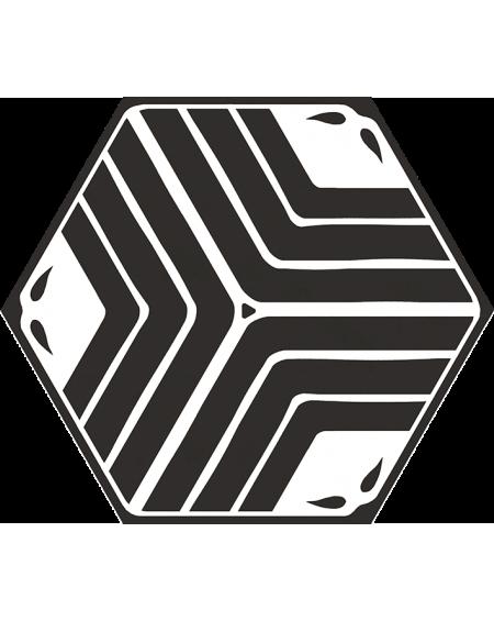 dlažba obklad geometrických tvarů černobílá hexagon jasmine black hex 25x22 cm výrobce Codicer