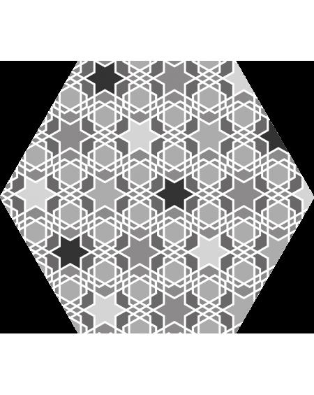 Dlažba obklad šedo černá hexagon pomatná hex 25 Kasbah MIX Grey 25x22cm výrobce Codicer ceramica šestihran