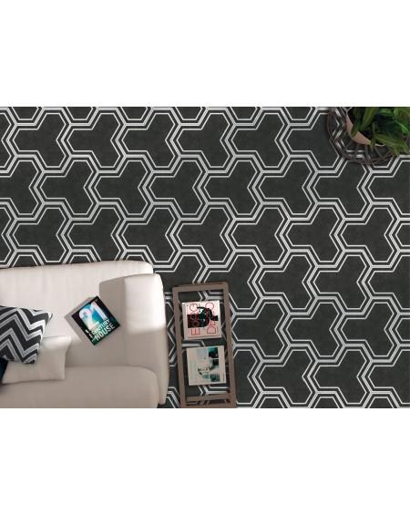 Dlažba obklad černobílá hexagon pomatná hex 25 Labyrinth Black 25x22cm výrobce Codicer ceramica šestihran