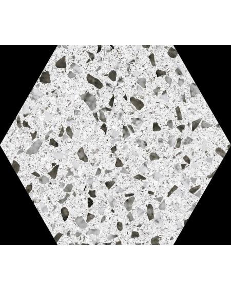 Dlažba obklad černobílá imitující Granit hexagon pomatná hex 25 Venice white 25x22cm výrobce Codicer šestihran