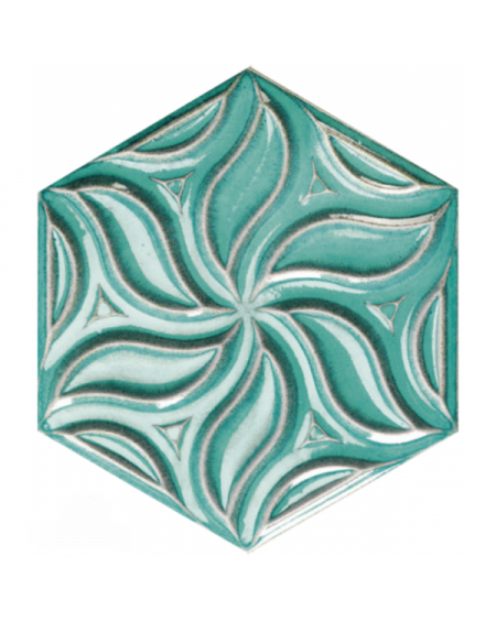 obklad prostorový hexagon barva mint s kovovou patinou hex28 Ivy Teal výrobce Reaonda šestihran