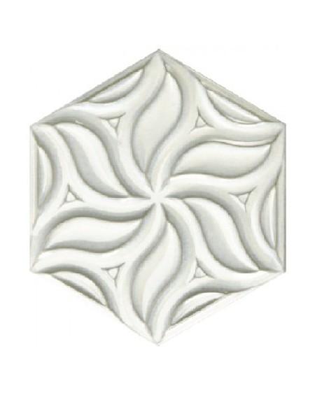 obklad prostorový hexagon barva bílá s kovovou patinou hex28 Ivy Mist výrobce Reaonda šestihran