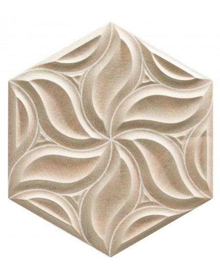 obklad prostorový hexagon imitující dřevo hex28 Ivy Oak výrobce Reaonda šestihran