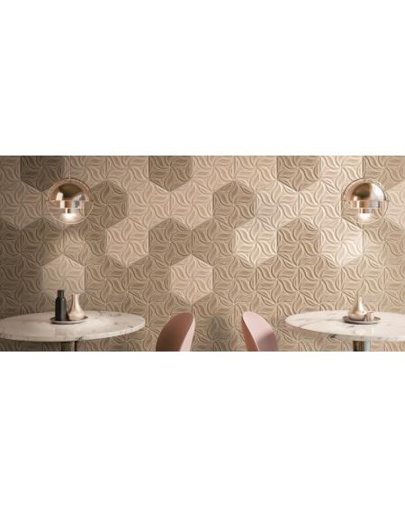 obklad prostorový hexagon imitující dřevo hex28 Ivy Oak Walnut výrobce Reaonda šestihran