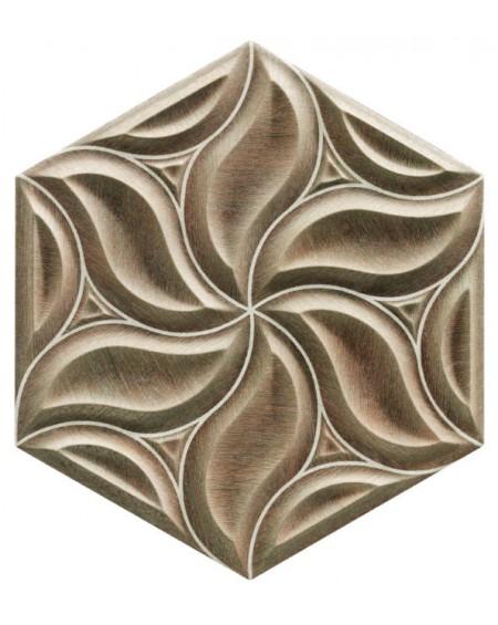 obklad prostorový hexagon imitující dřevo hex28 Ivy Walnut výrobce Reaonda šestihran