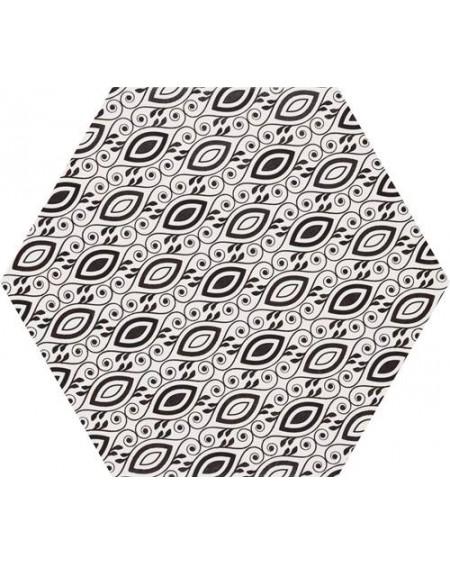 Dlažba obklad se vzorem Art retro Terrades hexagon Hex 28 Grazia 28,5x33cm cm výrobce Realonda černobílá matná šestihran