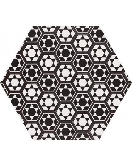 Dlažba obklad se vzorem Art retro Terrades hexagon Hex 28 Grazia 28,5x33cm cm výrobce Realonda černobílá polmatná šestihran
