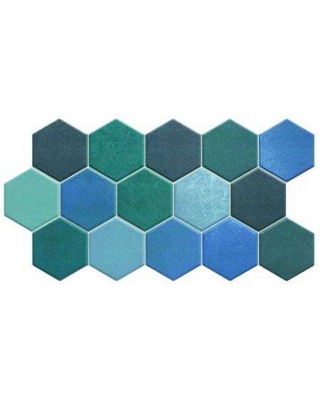 Dlažba obklad hexagon polomatná hex 28 Aquamarine m26,5x51 cm cm výrobce Realonda modrý šestihran