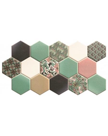Dlažba obklad hexagon polomatná zelená hex 28 Novelau Grenn 26,5x51 cm cm výrobce Realonda šestihran